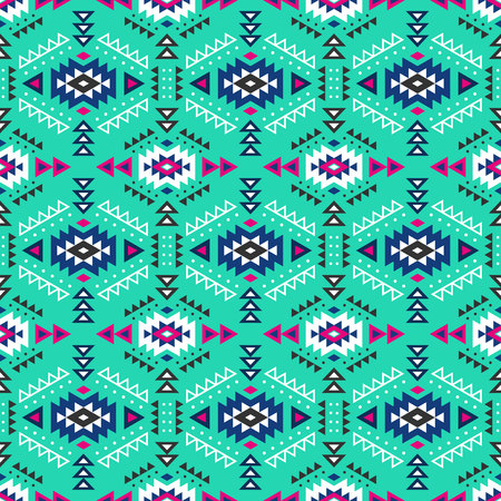 colombian: Aztec style seamless pattern with tribal ornament. Ornamental ethnic background collection. Can be used for fabric prints, surface textures, cloth design, wrapping. EPS 10 vector illustration. Illustration