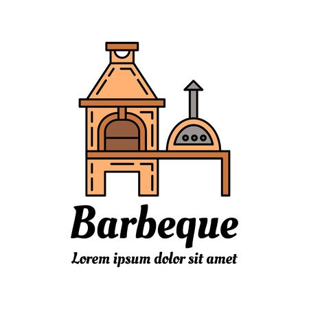outdoor fireplace: Barbeque colorful icon design. Linear style outdoor fireplace EPS 10 vector illustration. Isolated on white.