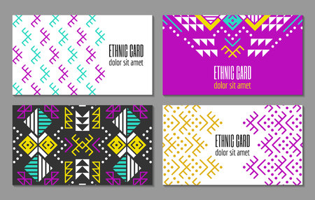 colombian: Aztec style colorful business card set. American indian ornamental pattern design. Ornate blank with ethnic motifs. Tribal decorative template. EPS 10 vector concept.