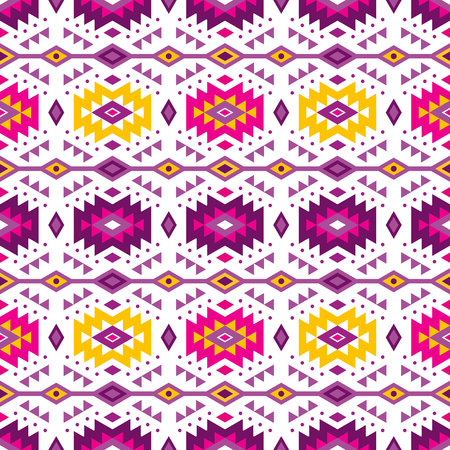 Aztec style seamless pattern with tribal ornament. Ornamental ethnic background collection. Can be used for fabric prints, surface textures, cloth design, wrapping. EPS 10 vector illustration. Çizim