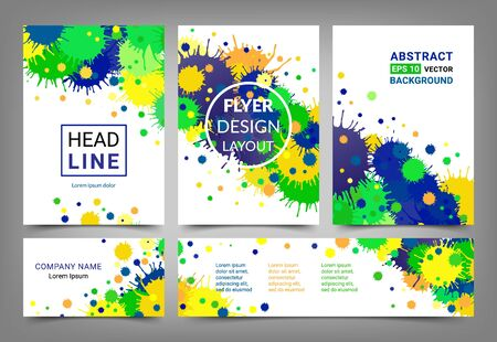 comparable: Artistic design set A4 size comparable brochures, visiting card and horizontal banner. Flyer template collection. Abstract bright backgrounds made of blots. Brazilian flag colors. EPS 10 vector. Isolated. Illustration