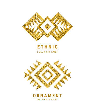 colombian: Aztec style geometric vintage logo set. Gold glitter texture. American indian ornate pattern design. Tribal decorative template. Ethnic ornamentation. EPS 10 vector. Metallic ornamental  retro emblem. Illustration