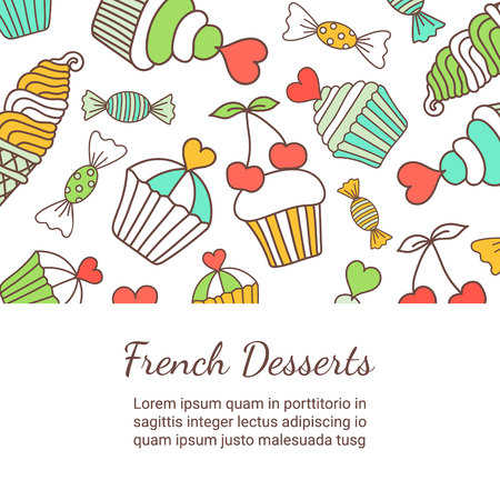 fruitcakes: Cake, candy, ice cream doodle squared card. Colored decorative background template of hand-drawn sweets. Cookery design flyer. Culinary concept. EPS 10 vector illustration.