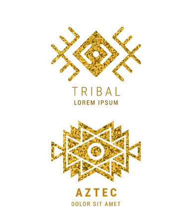 Aztec style geometric vintage logo set. Gold glitter texture. American indian ornate pattern design. Tribal decorative template. Ethnic ornamentation. EPS 10 vector. Metallic ornamental retro emblem.
