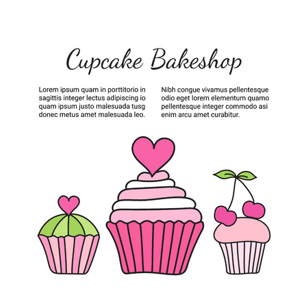 Cupcake brochure. Colored decorative card template of elegant hand-drawn sweets. Cookery design flyer. Culinary concept booklet. EPS 10 vector illustration.
