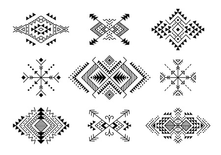 Set of Aztec style ornaments and arrows. American indian ornamental pattern design collection. Tribal decorative templates. Ethnic ornamentation. EPS 10 vector. Isolated on the white background. Illustration