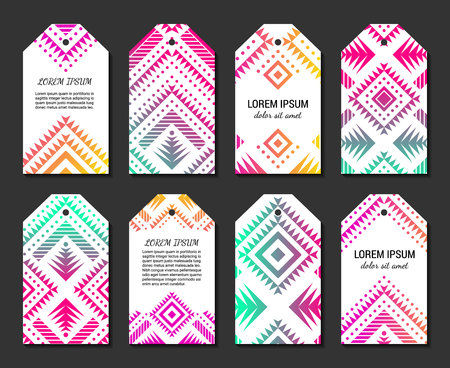 Bright colorful vertical gradient tag design temlpate set with tribal aztec style ornament. Ethnic label collection. EPS 10 vector concept illustration. Clipping masks.