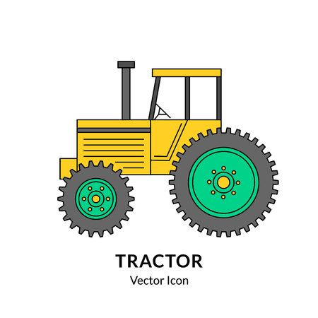 Colorful tractor icon. EPS 10 vector illustration isolated on white.