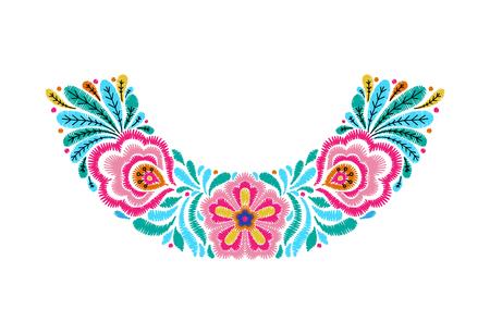 Embroidered neckline design icon. Illustration