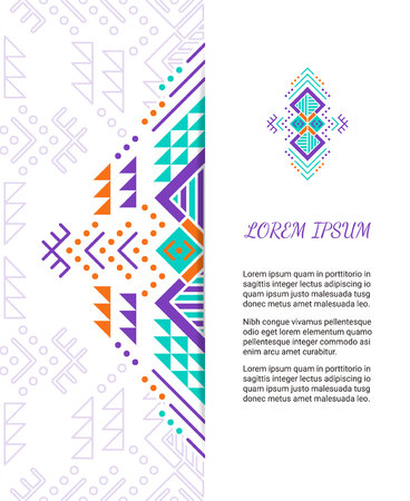 Aztec style colorful ornate card. Ornamental blank with ethnic motifs. Tribal graphic design concept. Paper brochure template. vector illustration. Clipping mask.
