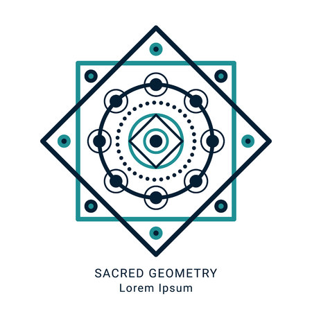 Sacred geometry style symbol. Sacral geometric outline sign. Line art colorful elements. Editable stroke. Paths are not expanded. EPS 10 linear design vector illustration. Illustration
