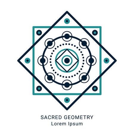 Sacred geometry style symbol. Sacral geometric outline sign. Line art colorful elements. Editable stroke. Paths are not expanded. EPS 10 linear design vector illustration. Illustration