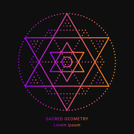 Sacred geometry style symbol. Sacral geometric outline sign. Line art gradient colorful elements. Editable stroke. Paths are not expanded. EPS 10 linear design vector illustration. Illustration
