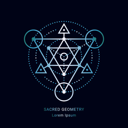 Sacred geometry style symbol. Sacral geometric outline sign. Line art colorful elements. EPS 10 linear design vector illustration.