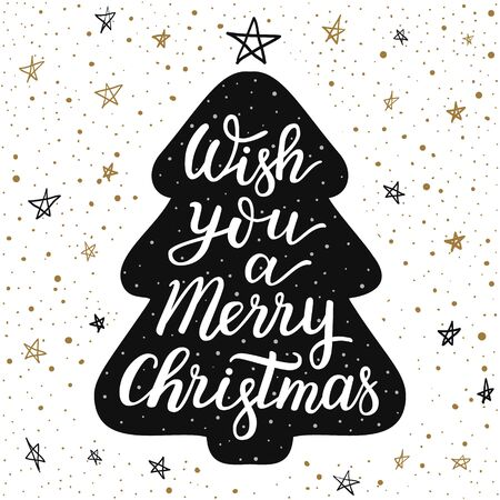 Hand-drawn lettering inscription Wish you a merry Christmas on the cartoon style fur tree and doodle black and gold star snow background. EPS 10 vector illustration  일러스트