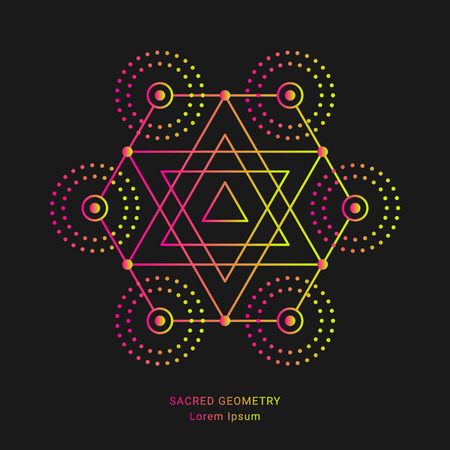 Sacred geometry style symbol. Sacral geometric outline sign. Line art gradient colorful elements. Editable stroke. Paths are not expanded. EPS 10 linear  graphic design vector illustration.