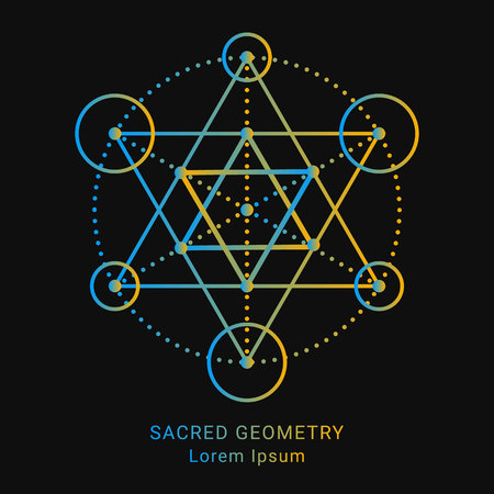 Sacred geometry style symbol. Sacral geometric outline sign. Line art gradient colorful elements. Editable stroke. Paths are not expanded. EPS 10 linear design vector illustration. 일러스트