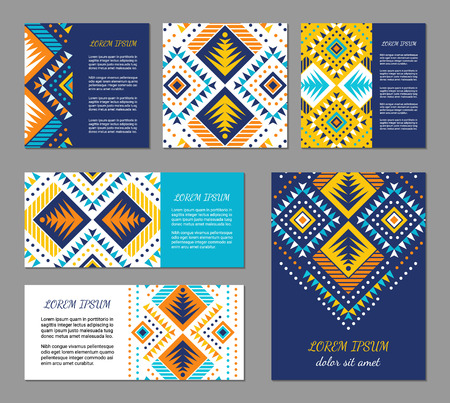 Aztec style colorful flyer set. American indian pattern design. Ornamental collection with ethnic motifs. Tribal decorative template. EPS 10 vector concept. Illustration