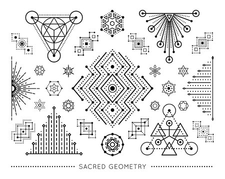 Sacred geometry style symbol set. Sacral geometric outline signs isolated on the white background. Line art elements. Editable stroke. Paths are not expanded. EPS 10 linear design vector illustration. Illustration