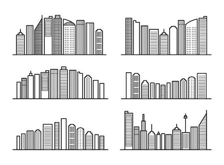 Cityscape outline background set. Modern futuristic megalopolis architectural concept skyline. Linear design city landscape. Editable stroke. Paths are not expanded. EPS 10 vector illustration Illustration