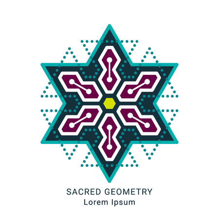 Sacred geometry style symbol. Sacral geometric outline sign. Editable stroke. Paths are not expanded. EPS 10 linear design vector illustration.