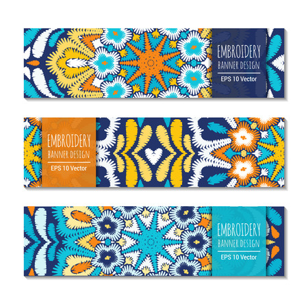 Embroidery style bright colorful horizontal banner set. Ethnic design ornamental backgrounds. EPS 10 vector. Clipping masks