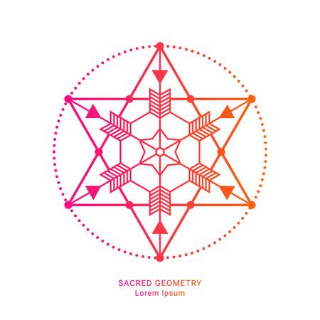 Sacred geometry style symbol. Sacral geometric outline sign. Line art gradient colorful elements. EPS 10 linear design vector illustration.