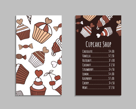 Chocolate cake, candy, ice cream doodle card set. Brown and beige colored decorative brochure template with hand-drawn pink sweets. Cookery design flyer. Culinary concept vector background. EPS 10