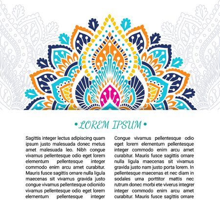 Indian style colorful ornate card. Ornamental blank with ethnic motifs. Oriental graphic design concept. Paper brochure template. EPS 10 vector illustration. Clipping mask.