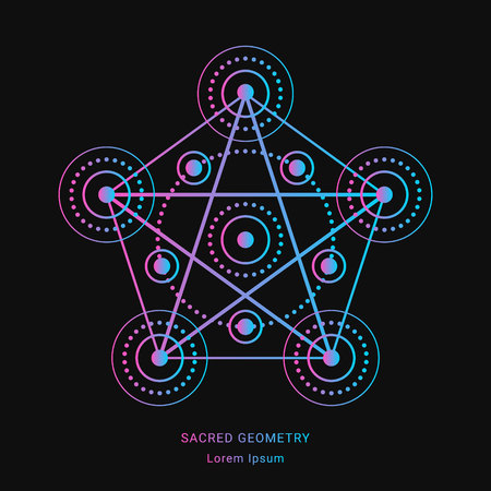 Sacred geometry style symbol. Sacral geometric outline sign. Line art gradient colorful elements. Editable stroke. Paths are not expanded. EPS 10 linear design vector illustration. Çizim