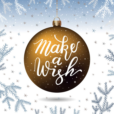 Hand-drawn lettering inscription on the gold, christmas tree, christmas tree, snowflake silver background. EPS 10 vector illustration Ilustração