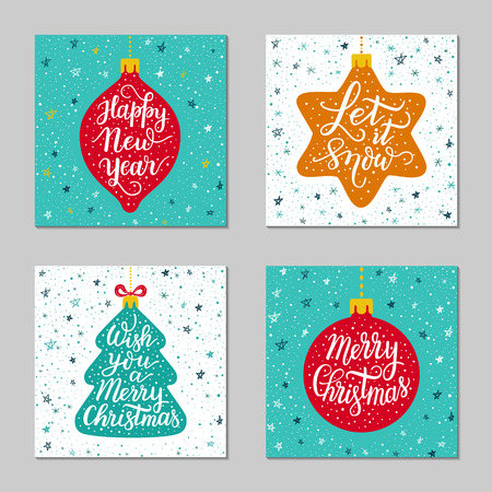 Hand-drawn lettering inscription Happy New Year, Christmas tree.Cartoon fur-tree 일러스트