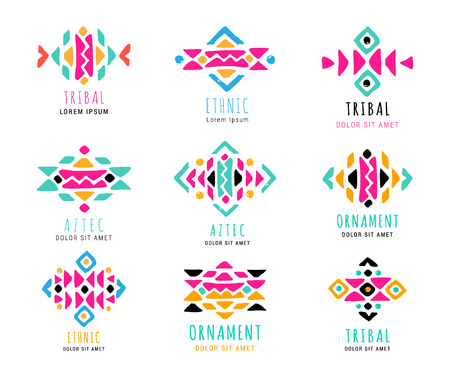 Colorful  Aztec style ornamental simple hand-drawn logo set. American indian ornate pattern design collection. Tribal decorative templates. Ethnic ornamentation. EPS 10 vector illustration.