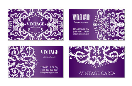 French baroque elegant ornate violet visiting cards. Luxurious fashionable ornamental flyer design. Vintage fancy ornament decoration. Pathetic retro embellishment. EPS 10 vector brochure template