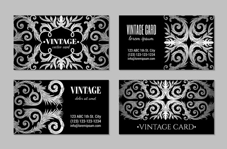 French baroque elegant ornate visiting cards. Luxurious fashionable silver ornamental flyer design. Vintage fancy ornament decoration. Pathetic retro embellishment. EPS 10 vector brochure template Illusztráció