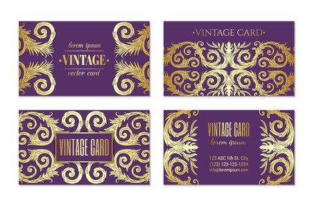 French baroque elegant ornate violet visiting cards. Luxurious fashionable ornamental flyer design. Vintage fancy ornament decoration. Pathetic retro embellishment. EPS 10 vector brochure template Vetores
