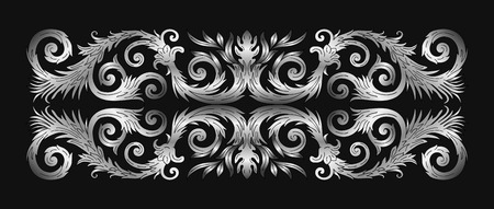 Baroque style ornament design. Retro ornamental gradient silver metallic background. Baguette frame border. Vintage decorative pattern. EPS 10 vector illustration.