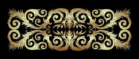 Baroque style golden ornament design. Retro ornamental gradient gold metallic background. Baguette frame border. Vintage decorative pattern. EPS 10 vector illustration.