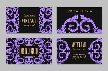 French baroque style elegant ornate visiting cards. Luxurious fashionable ornamental flyer design. Vintage fancy ornament decoration. Pathetic retro embellishment. EPS 10 vector brochure template