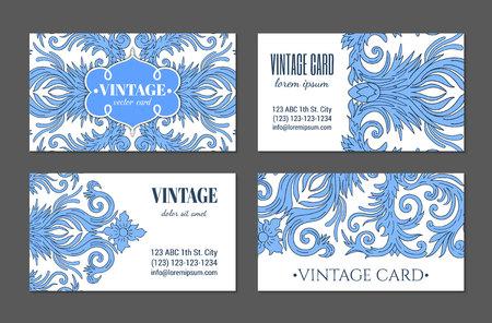 French baroque style elegant blue ornate visiting cards. Luxurious fashionable ornamental flyer design. Vintage fancy ornament decoration. Pathetic retro embellishment. EPS 10 vector brochure template