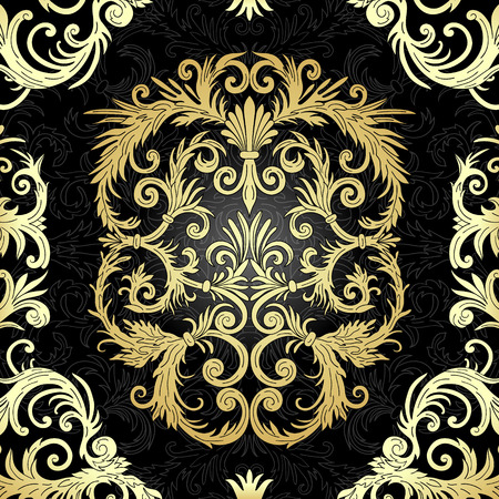 French baroque style elegant ornate background. Luxurious fashionable gold ornamental design. Vintage fancy ornament decoration. Party flyer, certificates, cards, brochures.