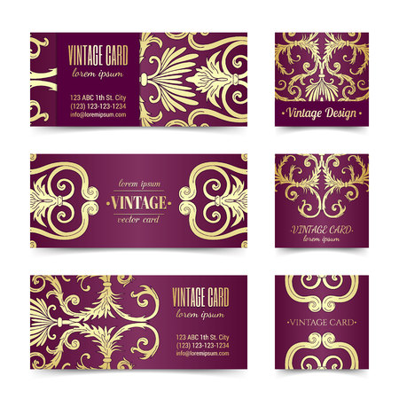 French baroque elegant ornate violet visiting card. Luxurious fashionable gold ornamental flyer design. Vintage fancy ornament decoration. Pathetic retro embellishment. EPS 10 vector brochure template