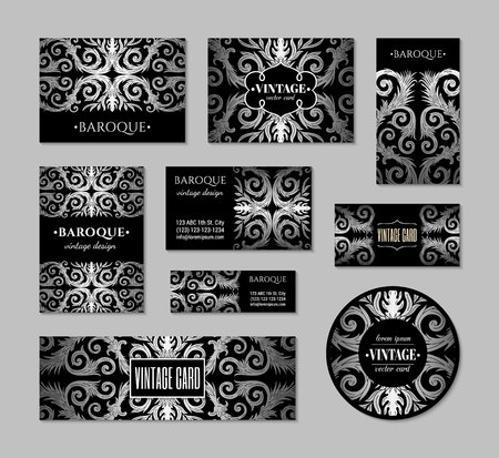 French baroque style elegant ornate visiting cards. Luxurious fashionable silver black ornamental flyer design. Vintage fancy ornament decoration. Pathetic retro embellishment. EPS 10 vector brochure template Illusztráció