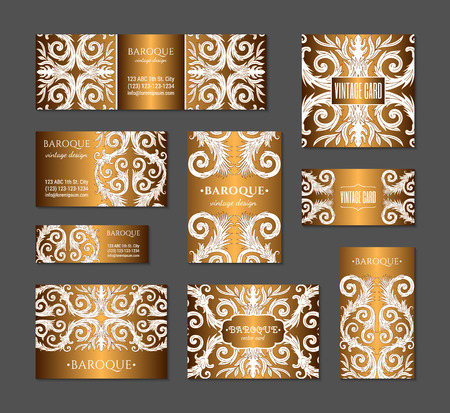 French baroque style elegant ornate visiting cards. Luxurious fashionable gold ornamental flyer design. Vintage fancy ornament decoration. Pathetic retro embellishment. EPS 10 vector brochure template