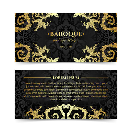 French baroque elegant ornate flyers. Luxurious gold ornamental banner design. Vintage fancy ornament decoration. Pathetic retro embellishment. Silky black background. Vector brochure template