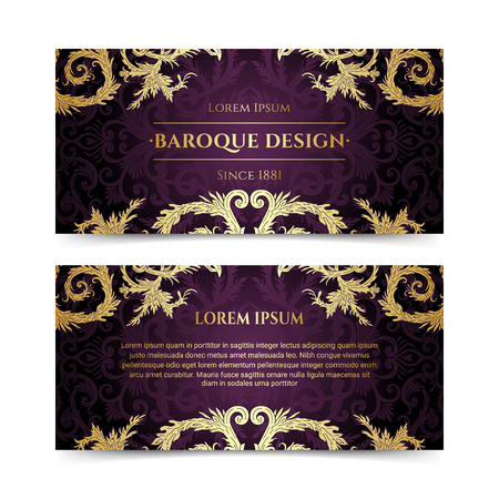 French baroque elegant ornate flyers. Luxurious gold ornamental banner design. Vintage fancy ornament decoration. Pathetic retro embellishment. Silky purple background. Vector brochure template Illustration