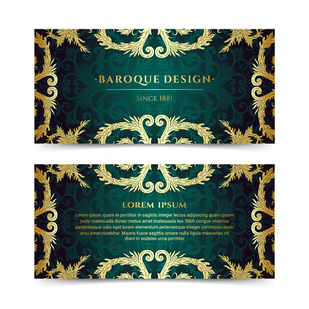 French baroque elegant ornate flyers. Luxurious gold ornamental banner design. Vintage fancy ornament decoration. Pathetic retro embellishment. Silky dark green background. Vector brochure template