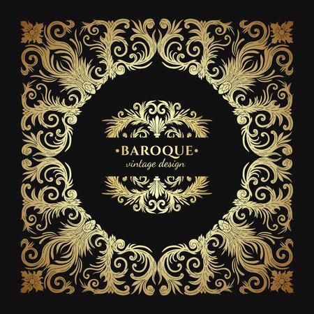 Baroque style gold ornament design. Retro ornamental gradient golden metallic background. Baguette frame. Vintage decorative pattern. Antique graphic border. EPS 10 vector illustration. Illusztráció