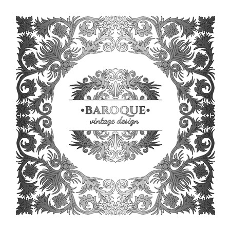 Baroque style silver ornament design. Retro ornamental gradient metallic background. Baguette frame. Vintage decorative pattern. Antique graphic border. EPS 10 vector illustration. 일러스트
