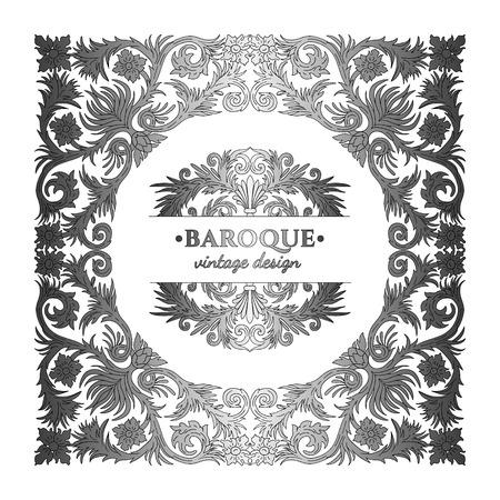 Baroque style silver ornament design. Retro ornamental gradient metallic background. Baguette frame. Vintage decorative pattern. Antique graphic border. EPS 10 vector illustration. Illustration